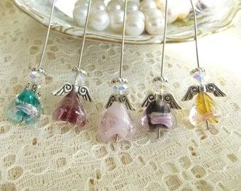 DIY Angel Ornament Kit for 5 Angels -Lampwork Bead Crystal AB Angels