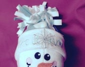 Personalized, Fleece Snowball Snowgirl with Embroidered Face and Hat