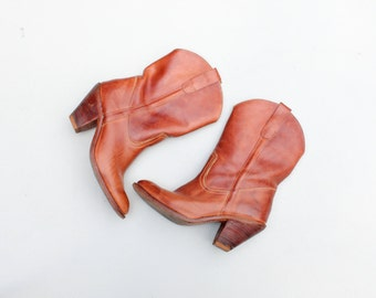 vintage boho high heel boots - 70s Brazil - caramel leather boots / Country Western - 70s prairie boots / festival boots - ladies 8.5 1/2 B