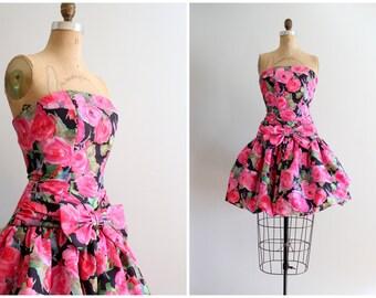 vintage strapless party dress - rose print bubble dress / 80s mini pouf dress - taffeta party dress / vintage pouf balloon skirt