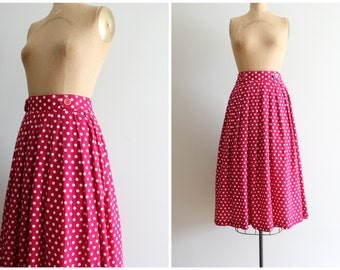 high waisted polka dot print skirt - vintage 80s does 50s skirt / high waist dot pint skirt - rayon midi skirt / fuschia polka dot skirt