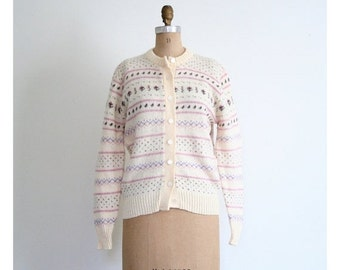 SALE / ladies Scottish wool fair isle cardigan sweater - 80s preppy sweater / Highland Glen - Scotland / ivory wool cardigan - 80s prep