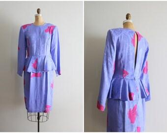 vintage 80s Flora Kung open back silk dress - 80s peplum dress / 80s jacquard silk peplum dress - lavender & hot pink designer dress