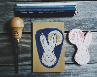 Arctic Hare Moon Moleskine Notebook Journal Handcarved Carved Small Hand Colored Night Sky Back to School Student Writer Present Gift Nature