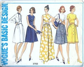 Vogue 2702 Vintage 1960s 1970's BASIC DESIGN Dress Sewing Pattern Size 16 Bust 38