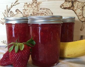Strawberry Banana jam 8oz/Homemade jam/Homemade Preserves/Oil Patch Farm/Handcrafted Jam