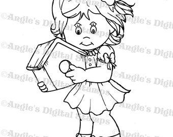 Daisy May With A Birdhouse Digital Stamp Image