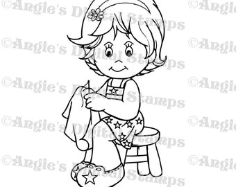 Daisy May Sewing Digital Stamp Image