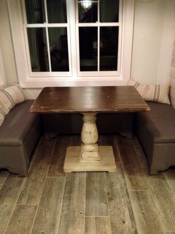 Handcrafted Rectangle Pedestal Table Distressed Brown and Ivory With Balustrade Leg