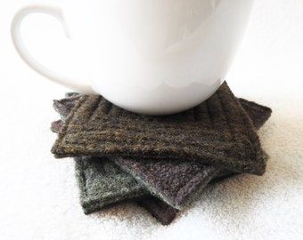 Wool Coasters MOSS & OAK Green and Brown Recycled Mug Rugs Felted Wool Coasters Home Decor Housewarming Gift by WormeWoole