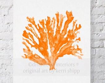 Sea Coral in Tangerine Print 8x10 - Sea Coral Wall Art Print - Orange Watercolor Coral - Coral Art Print