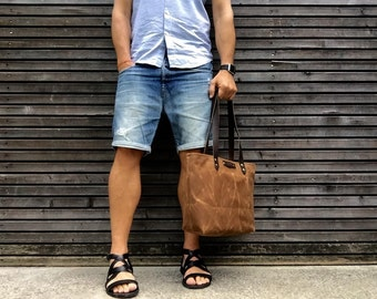 Waxed canvas tote bag - simple tote bag -  carry all with  leather handles