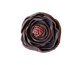 Rustic Brown Leather Flower Brooch with Vintage Red Glass Button Flower Brooch or Groom's Boutonniere READY