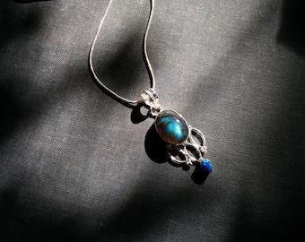SALE Vintage labradorite and opal sterling silver necklace - blue fire