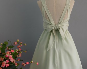 Party V Backless Dress Pale Mint Green Dress Green Bridesmaid Dress Pale Mint Green Backless Cocktail Dress Homecoming Dress XS-XL