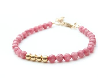 the Lucky Elephant Charm Bracelet, Faceted Pink Jade 14k Gold-Filled Clasp, the Lucky Elephant Original with Signature Gold Elephant Charm