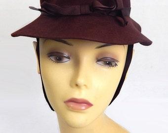 Original Vintage 1940s Brown Felt Hat