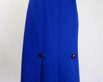 Original Vintage 1970s Royal Blue 40s Style Skirt UK Size 10