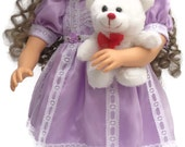 24 inch Designer Easter Doll Dress Bundle with Teddy Bear Toy, Headband and Panties Limited Quantity for My Twin Doll