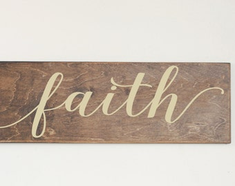 Faith Wood Sign, Stained Wood Sign, Thanksgiving, Harvest, Fall Wood Sign, Fall Decor, Gallery Wall, Holiday Wood Sign, Autumn Sign