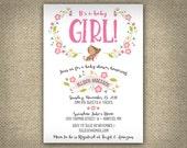 Girl Puppy Baby Shower Invitation, Girl Baby Shower, DIY Printable Baby Invitation, Puppy Themed Girl Shower, Personalized, Studio Veil