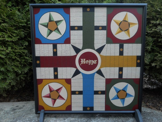 "19"", Parcheesi, Game Board, Board Game, Primitive, Wood, Wooden, Game Boards, Game, Hand Painted"