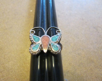 Vintage Native American Turquoise Butterfly Ring Size 5.75 to 6