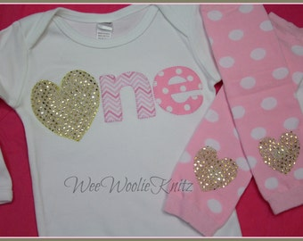 Heart Pink and Gold 1st Birthday-Glittery Gold- T shirt- Girls- Outfit- Bodysuit- 2nd -Toddler- Long or Short Sleeve