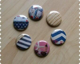 Nautical Pins, Magnets, or Thumb Tacks - Set of 6 - Anchor, Sea, Ocean, Organize, Office