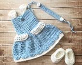 Princess Cinderella Inspired Costume/Crochet Princess Cinderella Dress/Cinderella/Princess Photo Prop Newborn to 12 Months- MADE TO ORDER
