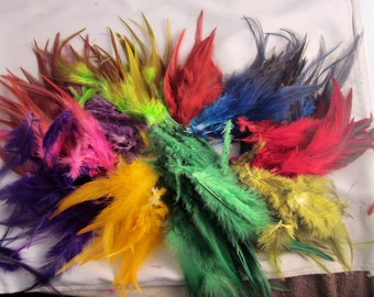 100 Saddle feathers calypso mix 3 to 6 inches craft feathers hair feathers real feathers
