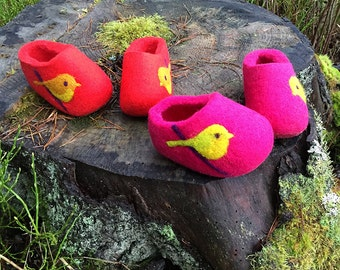 Hand Felted Wool Slippers  in Red, in Pink, in Green, in Blue, in Orange, in Gray with Birds decor. Made to order.