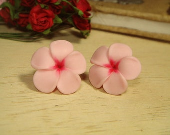 Sweet Pink Plumeria Frangipani Stud Earrings (E71)