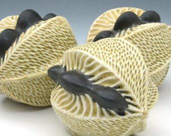 Porcelain pod in golden tan glaze with black seeds