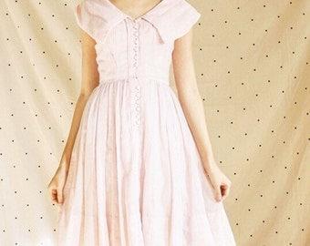 1960s Bubble Gum Pink Portrait Collar Dress/ Pinup 50s Collar Button Down Dress/ Rockabilly Pink Circle Skirt