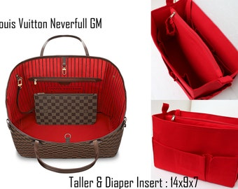 Taller and Diaper  Purse organizer for Louis Vuitton Neverful GM in Red fabric