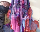 """20%OFF gothic steampunk bohemian gypsy tie dyed cotton fantasy jacket....work of art!! drapes well from medium to 54"""" bust...."""