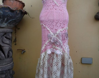 "bohemian gypsy lagenlook hippy crochet wedding bridesmaid dress ...smaller to 42"" bust"