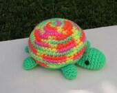 Stuffed Turtle, Plush Sea Creature, Crocheted Bright Green Orange Pink Yellow Variegated Summer Amigurumi Zoo Animal Turtle Gift under 10