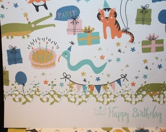 Happy Birthday Panda and friends Note Cards