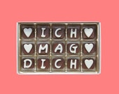 Ich Mag Dich Chocolate Letters Message, I Miss You In German, Long Distance Boyfriend Gift, Distant Love, Long Distance Relationship gifts