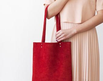 Rainbow SALE Red Suede Tote bag No.Tl- 6102