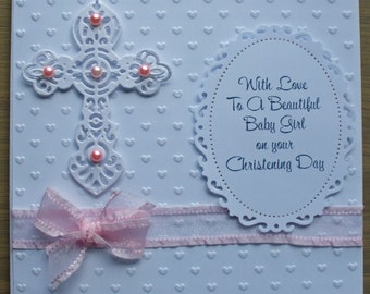 A Handmade Chritening Card for a Baby Girl