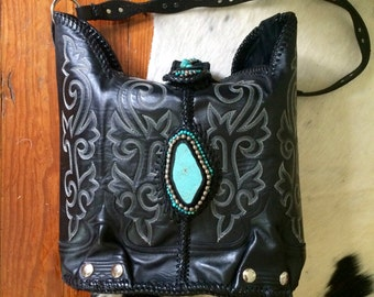 Handmade Genuine Black Leather Cowboy Western Boot Purse With Turquoise