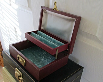 Small Vintage Jewelry Box - Embossed Burgundy Exterior with Light Turquoise Satin and Velvet Interior Shabby Chic Treasure Chest