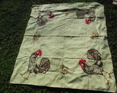 Rooster Farm Yard Themed Tablecloth, Light Yellow Tablecloth