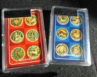 Imperial Zodiac Decks of Playing Cards, Vintage 1960s  NIP, Old Stock Sealed