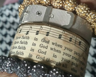 Rustic Praise Cuff ...Hymn Bracelet...Have Faith in God