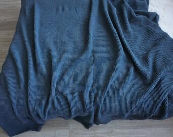 Linen Blanket  Heavy Dark Blue Waffle Weaving Stonewashed Linen Throw/ Bed cover/ Linen Blanket. Big size