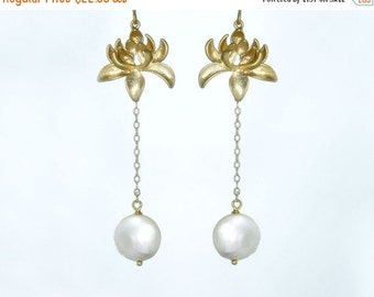 15 OFF. Moonlit lotus. Lotus flower and moon pearl earrings. Long gold filled earrings with coin pearl drop. bridal wedding